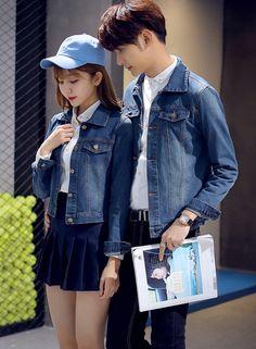 dc4c7a54e512 Male female couple matching denim jacket brief design men women short jeans  coat. Matching Clothes ...