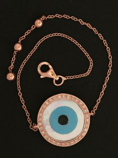Rose Gold Evil Eye Bracelet at London Jewelers. $750.00