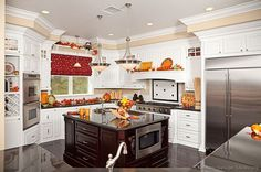 #Kitchen Idea of the Day: Traditional Two-Tone Kitchen with lots of kitchen autumn decor.