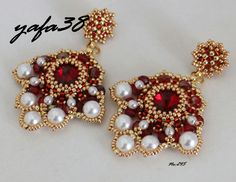 Küpe | biser.info - всё о бисере и бисерном творчестве Beaded Jewelry Designs, Seed Bead Jewelry, Bead Earrings, Beading Tutorials, Beading Patterns, Earrings Handmade, Handmade Jewelry, Earring Tutorial, Viking Jewelry