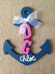 Delta Gamma Anchor with sparkly letters