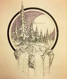 """A calming #penandink #landscape #illustration by Michael Lindberg (@dustybrockway) for your Monday enjoyment.  This is almost like a window into a different world... a world that smells of pine and spruce and a wood burning in a hearth (or campfire) sounds like a soft howling wind and feet scrunching in the snow and (for me anyway) tastes like hot chocolate with little marshmallows.  I love how the river runs through the free scene and out into this side of the """"portal"""" the simple lines…"""