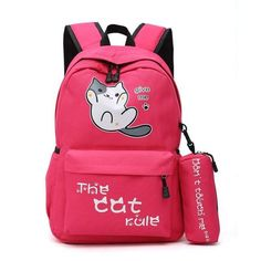 Cute cat backpack for girls school bags Teenagers solid nylon student  school back pack women bag large Casual bagpack Mochila f3cbade33279e