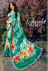 Green Color Georgette Kitty Party Sarees : Leena Collection  YF-42453