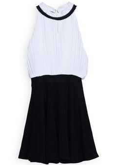 black + white pleated summer dress