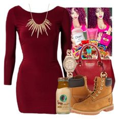 """""""UNTITLED #111"""" by favdimples ❤ liked on Polyvore featuring Victoria's Secret, Junk Food Clothing, Michael Kors, Club L, FOSSIL, Timberland and Alexis Bittar"""