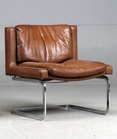 Anonymous; Chromed Steel and Leather Lounge Chair by De Sede, c1970.