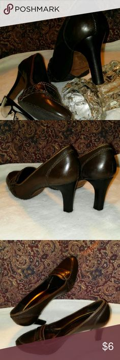ANTONIO MELANI 👠Penny loafer style heels. Nice chocolate brown color. Has some very soft scuffs. Soft insoles. SIZE: 7M ANTONIO MELANI Shoes Heels