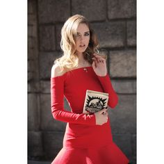 A red dress and a book ❤ liked on Polyvore featuring dresses and editorial