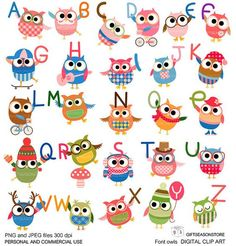 Image of an original illustration done in digital graphic drawing. You will receive 26 Owls with fonts Clip art High) 26 Only Fonts Clip art High) 26 Only owls Clip art High) 300 dpi PNG and JPEG in Zip files PNG files has a transparent background and Owl Clip Art, Owl Art, Owl Theme Classroom, Classroom Teacher, Classroom Ideas, Reading Projects, Clip Art Pictures, Christmas Owls, Felt Patterns
