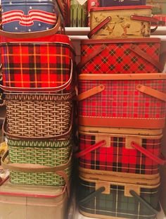 Nice vintage collection of tartan plaid and basket weave tin picnic baskets from 1950's