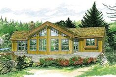 This cabin-style vacation home (House Plan has 1292 sq ft of living space. The floor plan includes a vaulted living area and 3 bedrooms. A Frame Floor Plans, A Frame House Plans, Cabin House Plans, Cabin Floor Plans, House Plans And More, Best House Plans, Small House Plans, Cabin Design, Cottage Design