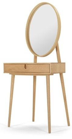 The Penn Dressing Table in Oak. Elegant and cool, with clean lines for understated chic - just bought this compact table, so excited to have one! Dressing Table Design, Dressing Table With Stool, Dressing Tables, Room Interior, Interior Design Living Room, Furniture Design, Bedroom Decor, Home Decor, Clean Lines