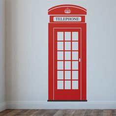 London Telephone Box Wall Decal British Icon Wall by Wallboss