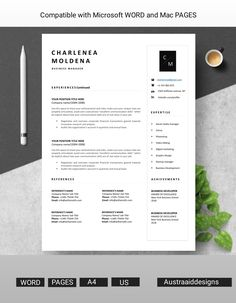 Resume Cover Letter Template, Modern Resume Template, Letter Templates, Resume Templates, Professional Resume, Video Editing, Curriculum, Digital Marketing, Photoshop