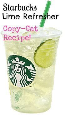 Perfect refreshing drink for the hot summer days! I would even do a cucumber refresher!  Starbucks Cool Lime Refresher CopyCat Recipe <3