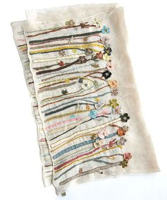 sophiedigardソフィーディガールFREESIASEMERINOWOOLSCARF/BEIGE Tambour Embroidery, Embroidery Applique, Embroidery Stitches, Contemporary Embroidery, Sewing Stitches, Wool Applique, Hand Embroidery Designs, Fabric Art, Textile Art