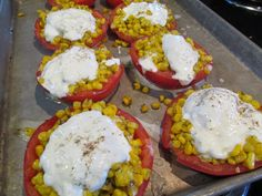 Around the World in 30 Plates: Italy - Lunch - Pomodoro alla Maresi. Family recipe for the perfect summer lunch or dinner! Tomatoes stuffed with corn, basil and burrata.