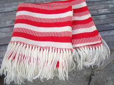 Vintagee candy cane striped scarf  // knit with fringe! by dahlilafound, $29.00