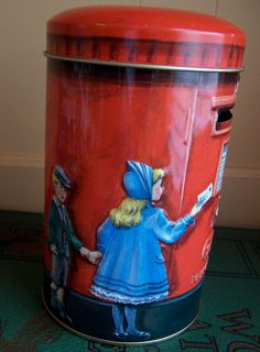 post office money box by churchill tin by ricracandbuttons on Etsy, $16.99