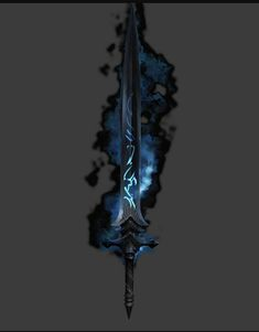 Void Sword: a very powerful sword with a power of blue fire. The wielder and the sword have the power to draw strength from the void Fantasy Boy, Fantasy Sword, Fantasy Weapons, Dark Fantasy Art, Fantasy Blade, Fantasy Demon, Ninja Weapons, Anime Weapons, Armes Concept