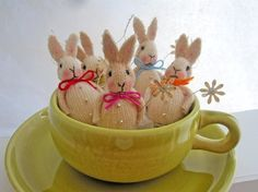 Set of 5 Vintage Inspired Tiny Easter Bunny Ornaments from Carynbay on Etsy $29.99