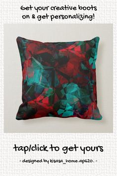Red Black & Turquoise Abstract Color Block Design Throw Pillow - tap/click to get yours right now! #ThrowPillow #red, #black, #turquoise, #abstract, #colorful, Modern Throw Pillows, Colorful Pillows, Accent Pillows, Complimentary Colors, Vibrant Colors, Block Design, Custom Pillows, Home Gifts