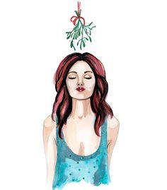 illustration of girl under mistletoe