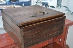 Rustic box  with Antique brass fittings by LKWoodenthings on Etsy, $80.00