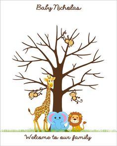 Selva bebé ducha huella árbol los libro cartel por CustombyBernolli