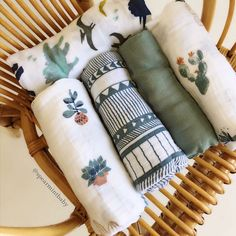 muslin cloth diaper swaddle cacti succulents fauna flora olive prints