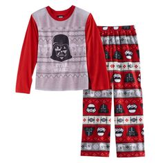 Boys 4-12 Jammies For Your Families Star Wars Darth Vader & Stormtrooper Fairisle Top & Microfleece Bottoms Pajama Set, Size: 10, Multicolor