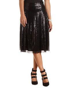 Sequin Full Midi Skirt: Charlotte Russe