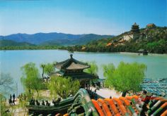 China UNESCO Summer Palace Postcard - Zhichun Pavilion in Spring,Willow