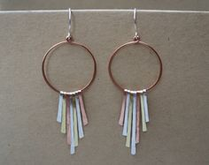 """Mixed metal hoop with sterling silver, copper and brass hand hammered """"dangles"""". Mixed metal fan. Long asymmetrical sexy hoop earrings."""