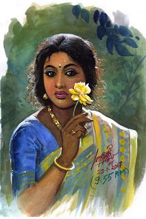 50 Most Beautiful Indian Women Paintings of All Times Indian Women Painting, Indian Art Paintings, Indian Artist, Indian Art Gallery, Exotic Art, Mystique, Woman Painting, Beautiful Paintings, Figurative Art