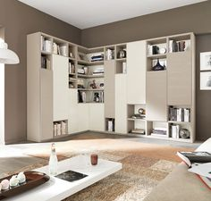 Buy Aversa Bookcase for Sale - Aversa L-shape corner bookcase wall unit with clean lines exemplifies exceptional Italian design where form meets functionality.