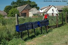row of letterboxes in Poland.