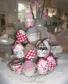 bridal fabric cupcakes Ornament Wreath, Ornaments, Bridal Fabric, Wild Hearts, Christmas Wreaths, Cupcakes, Holiday Decor, Crafts, Home Decor