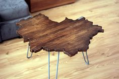 Say hello, to beautiful Warsaw- shaped table! Unique Coffee Table, Coffee Table Design, Hairpin Legs, Warsaw, A Table, Custom Design, Industrial, Polish, Shapes