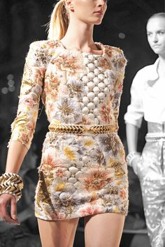 Who: Olivier Rousteing for Balmain  What: Spring 2012 runway dress