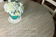 Turn a Craig's List Pedestal table into a Restoration Hardware knock off with this faux weathered gray wood grain tutorial using Valspar sample paints and a few other supplies. grain How to Faux Finish Weathered Wood Grain - Pretty Handy Girl Faux Wood Wall, Faux Wood Flooring, Wood Walls, Weathered Grey Stain, Grey Wood, Gray Stain, Whitewash Wood, Restoration Hardware Table, Furniture Restoration