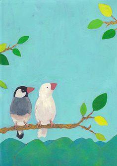 二羽の文鳥 Cartoon Birds, Reference Images, Creature Design, Illustration Art, Illustrations, Beautiful Birds, Art Gallery, Creatures, Kawaii