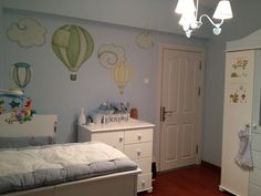Hot Air Balloons and Cloud Wall Decals - Baby Nursery Wall Stickers