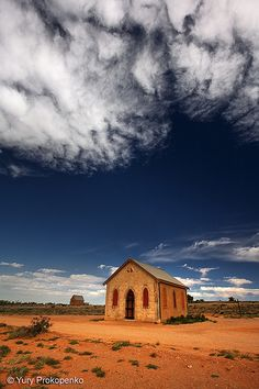 "Small Church in Silverton, Outback NSW, Australia. Imagine the stories if these walls could talk! I love finding these out of the way ""jewells"". If only I could spend my days out on the open road. Outback Australia, Australia Travel, Visit Australia, South Wales, Tasmania, Photo Mug, Old Churches, Abandoned Churches, Parks"