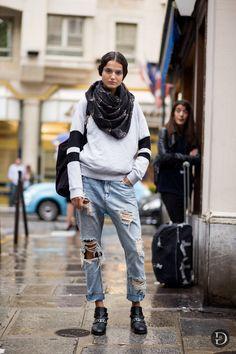 killer denim. fresh face #BlancaPadilla all wrapped up in Paris. #offduty