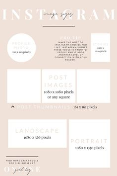 Instagram Image Sizes - see more blogging tips + get free stock photos @ http://girlbizonline.com