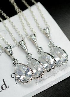 Bridesmaid Jewelry Bridesmaid Necklace Wedding Necklace Bridal Jewelry -Bridesmaid gifts, asking bridesmaid cards ,wedding jewelry. $29.99, via Etsy.