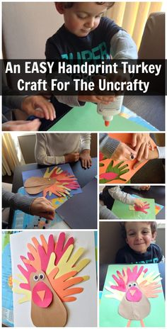 An Easy Handprint Turkey Thanksgiving Craft. I would add what they are thankful for on each handprint.