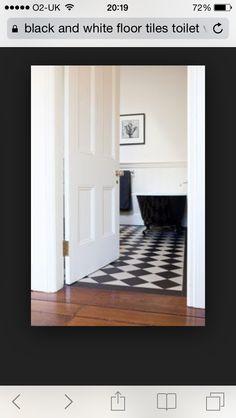 Black and white against parquet floor